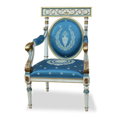 Russian Empire armchair , white lacquered - Mod. Julia Swan - MGC Mariani