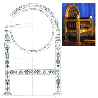 Sketch carving cusotm size armchair Empire style