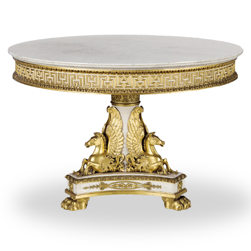 Neoclassical Round Table in white and gold - Tavolo in stile neoclassico bianco e oro